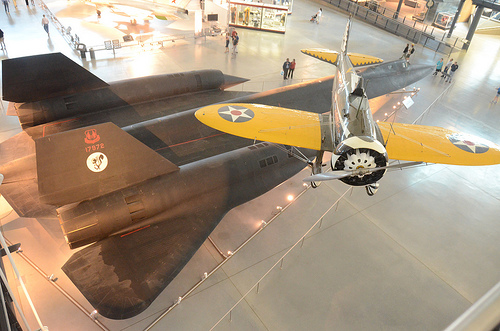 Steven F. Udvar-Hazy Center: View down onto SR-71 Blackbird & Boeing P-26A Peashooter